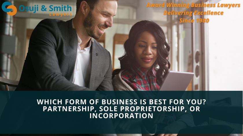 Which form of business is best for you Partnership, Sole Proprietorship, or Incorporation - Business Lawyers Calgary